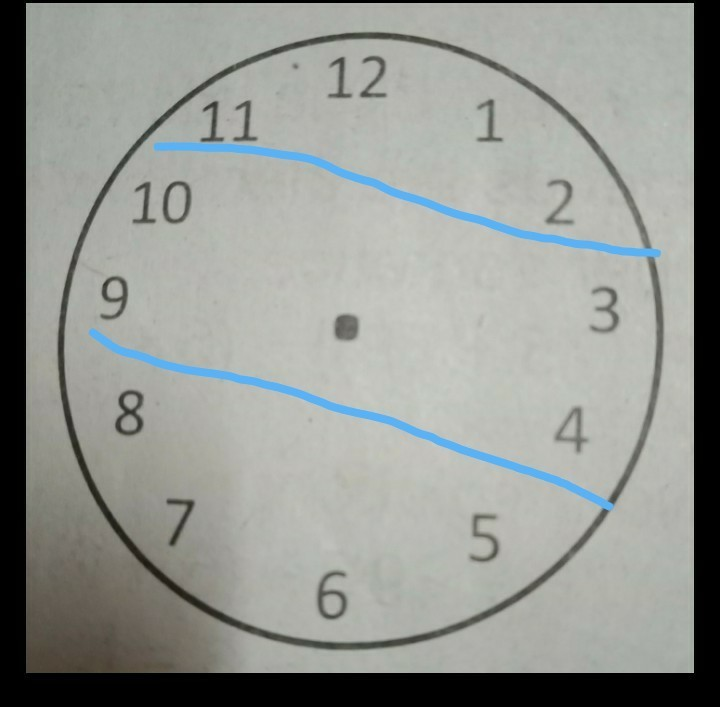 Divide the face of the clock into three parts with two lines so that