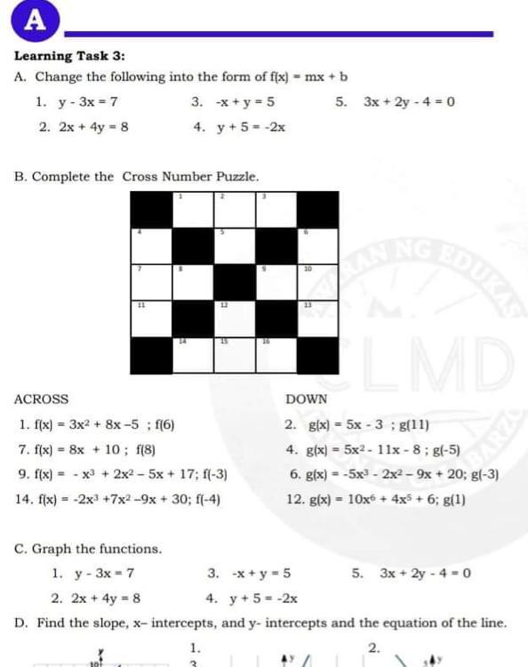 Learning Task 3: A. Change The Following Into The Form Of F(x) = Mx + B 1.  Y - 3x = 7 2. 2x + 4y = - Brainly.ph