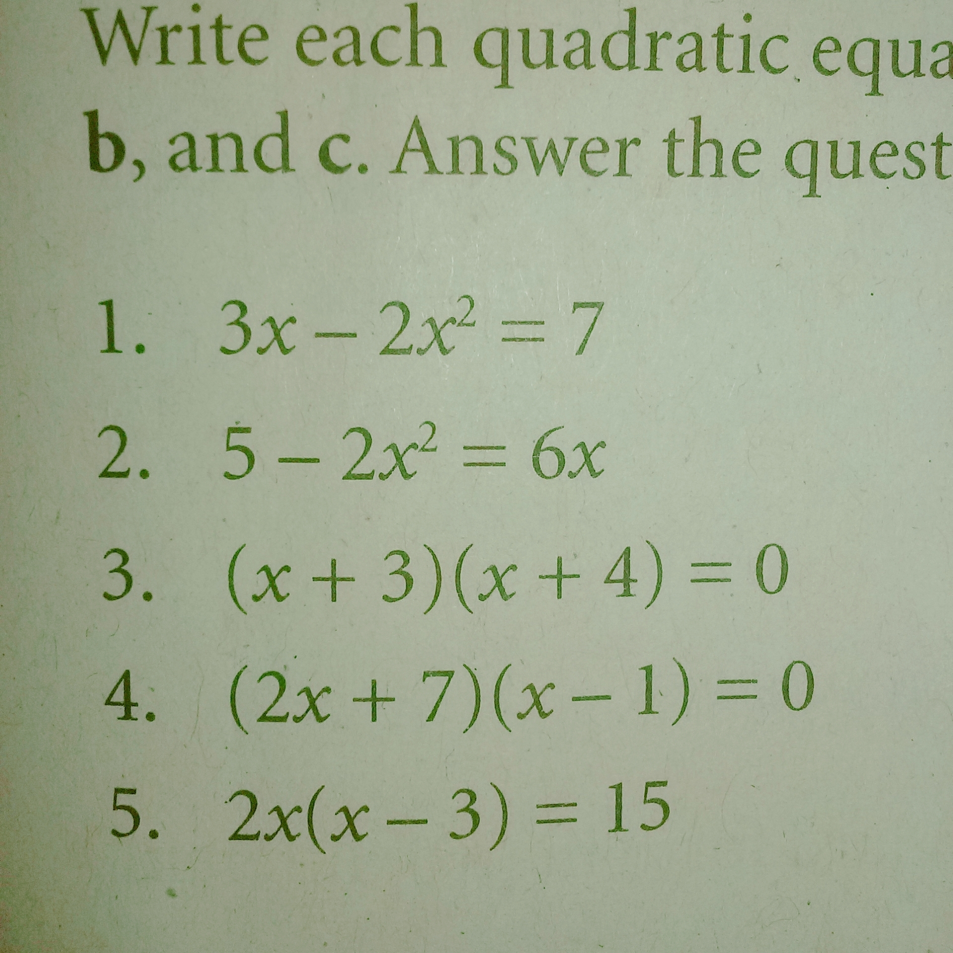 Write Each Quadratic Equation In Standard Form Then Identify The