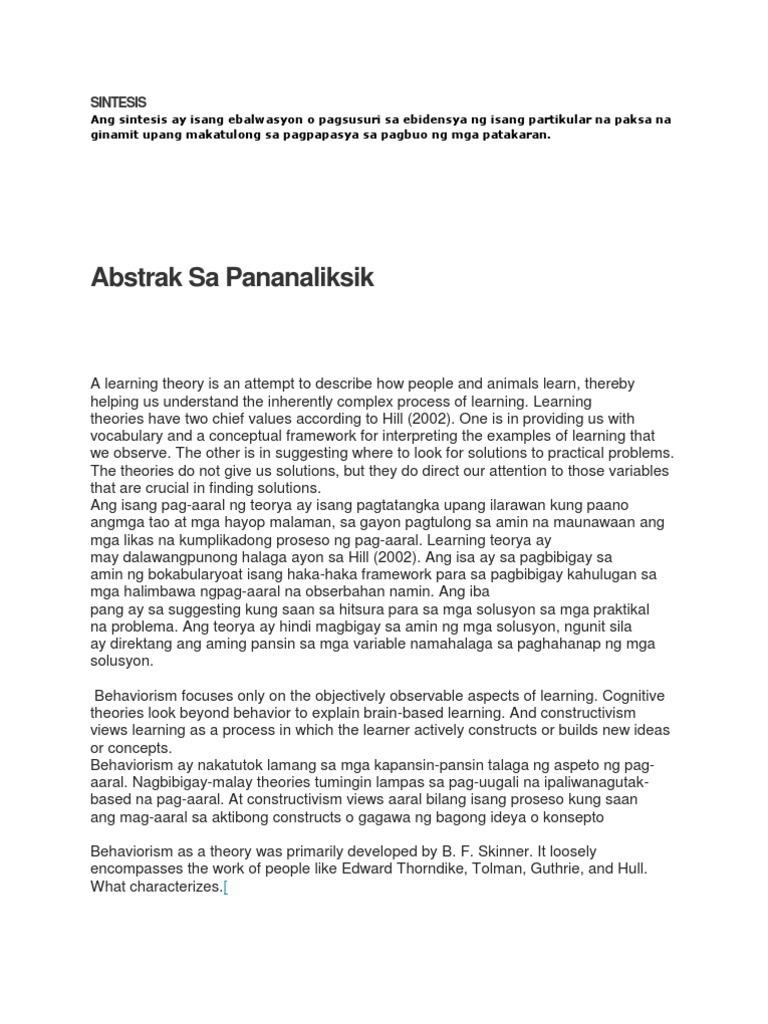 abstrak ng thesis halimbawa