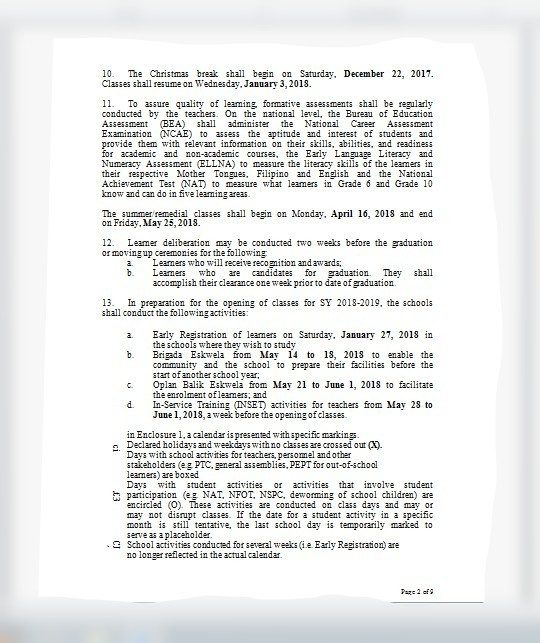 Deped Memo Early Registration For 2018 2019 Brainly Ph